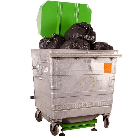 LSM bin press adjusts to various bin sizes