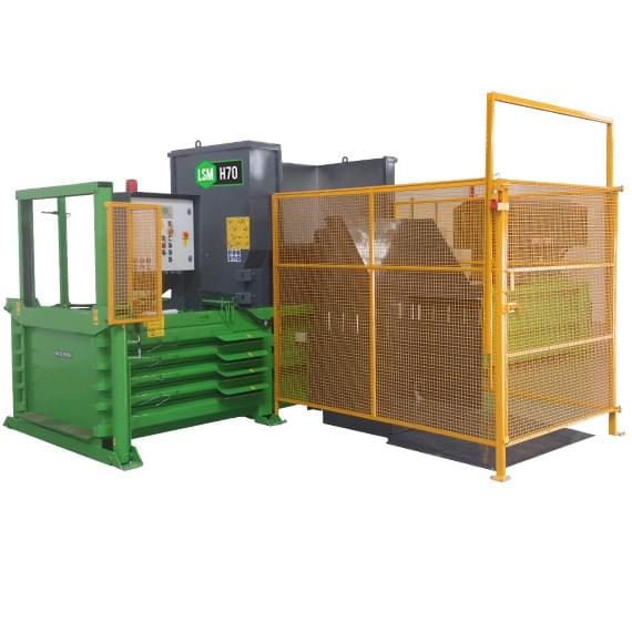 H70 horizontal balers with cage and bin lift