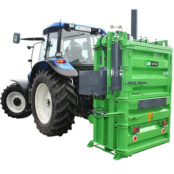 Tractor mounted agricultural waste baler
